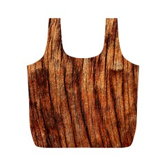 Old Brown Weathered Wood Full Print Recycle Bags (m)