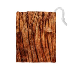 OLD BROWN WEATHERED WOOD Drawstring Pouches (Large)