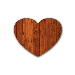 Oak Planks Rubber Coaster (heart)