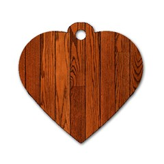 Oak Planks Dog Tag Heart (one Side)