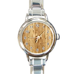 Light Wood Fence Round Italian Charm Watches