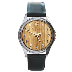 Light Wood Fence Round Metal Watches