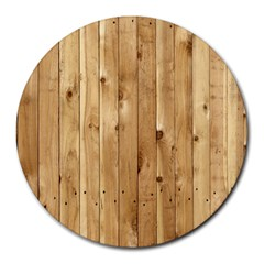 Light Wood Fence Round Mousepads