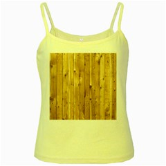 Light Wood Fence Yellow Spaghetti Tanks