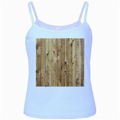 Light Wood Fence Baby Blue Spaghetti Tanks