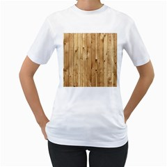 Light Wood Fence Women s T Shirt (white) (two Sided)