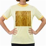 LIGHT WOOD FENCE Women s Fitted Ringer T-Shirts Front