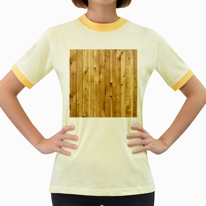LIGHT WOOD FENCE Women s Fitted Ringer T-Shirts
