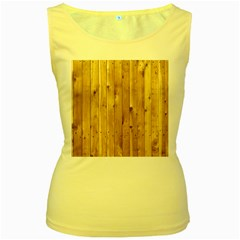 Light Wood Fence Women s Yellow Tank Tops