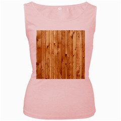 Light Wood Fence Women s Pink Tank Tops