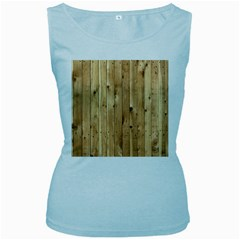 Light Wood Fence Women s Baby Blue Tank Tops