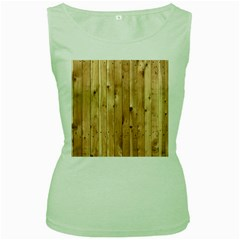 Light Wood Fence Women s Green Tank Tops