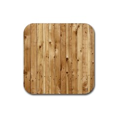 Light Wood Fence Rubber Square Coaster (4 Pack)