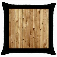 Light Wood Fence Throw Pillow Cases (black)