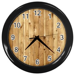 Light Wood Fence Wall Clocks (black)