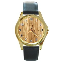Light Wood Fence Round Gold Metal Watches