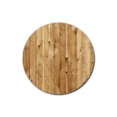 Light Wood Fence Rubber Round Coaster (4 Pack)