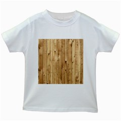 Light Wood Fence Kids White T Shirts