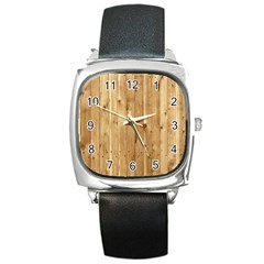 Light Wood Fence Square Metal Watches