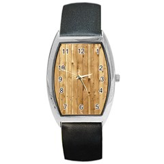 Light Wood Fence Barrel Metal Watches