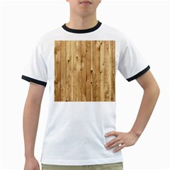 Light Wood Fence Ringer T Shirts