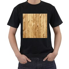 Light Wood Fence Men s T Shirt (black) (two Sided)