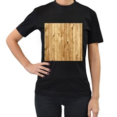 Light Wood Fence Women s T Shirt (black) (two Sided)