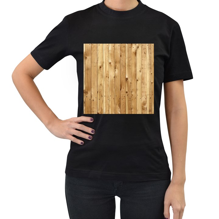 LIGHT WOOD FENCE Women s T-Shirt (Black) (Two Sided)