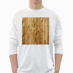Light Wood Fence White Long Sleeve T Shirts