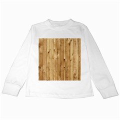 Light Wood Fence Kids Long Sleeve T Shirts