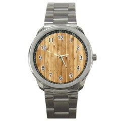 Light Wood Fence Sport Metal Watches