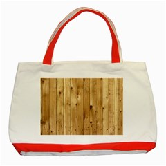 Light Wood Fence Classic Tote Bag (red)