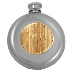 Light Wood Fence Round Hip Flask (5 Oz)