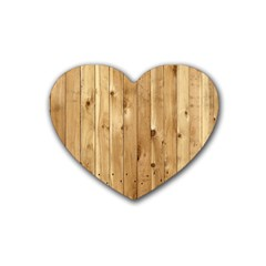 Light Wood Fence Rubber Coaster (heart)