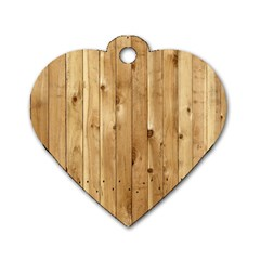 Light Wood Fence Dog Tag Heart (one Side)