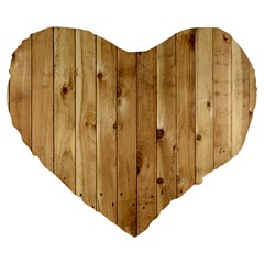 Light Wood Fence Large 19  Premium Flano Heart Shape Cushions