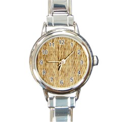 Light Beige Bamboo Round Italian Charm Watches