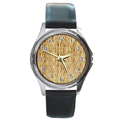 Light Beige Bamboo Round Metal Watches