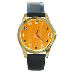 Honey Maple Round Gold Metal Watches