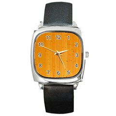 Honey Maple Square Metal Watches