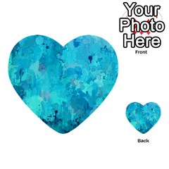 Splashes Of Color, Aqua Multi Purpose Cards (heart)