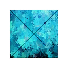 Splashes Of Color, Aqua Acrylic Tangram Puzzle (4  X 4 )
