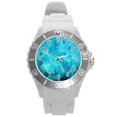 Splashes Of Color, Aqua Round Plastic Sport Watch (L)