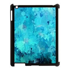 Splashes Of Color, Aqua Apple iPad 3/4 Case (Black)