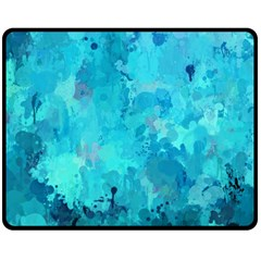 Splashes Of Color, Aqua Double Sided Fleece Blanket (medium)
