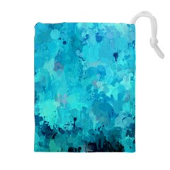 Splashes Of Color, Aqua Drawstring Pouches (extra Large)