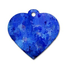 Splashes Of Color, Blue Dog Tag Heart (Two Sides)