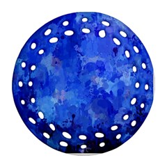 Splashes Of Color, Blue Round Filigree Ornament (2side)