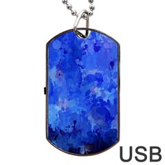 Splashes Of Color, Blue Dog Tag USB Flash (Two Sides)