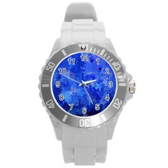 Splashes Of Color, Blue Round Plastic Sport Watch (L)